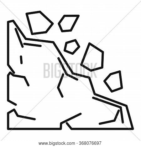 Building Landslide Icon. Outline Building Landslide Vector Icon For Web Design Isolated On White Bac
