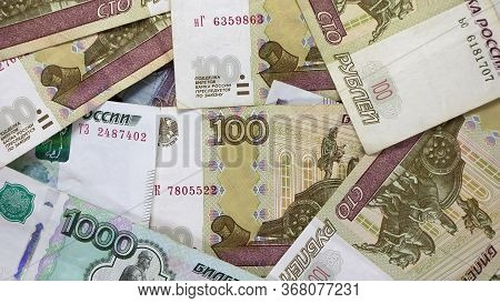 Paper Banknotes Russian Rubles. Rubles Is The National Currency Of Russia. Bank Of Russia The Russia