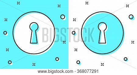 Black Line Keyhole Icon Isolated On Green And White Background. Key Of Success Solution. Keyhole Exp