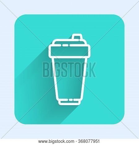 White Line Fitness Shaker Icon Isolated With Long Shadow. Sports Shaker Bottle With Lid For Water An