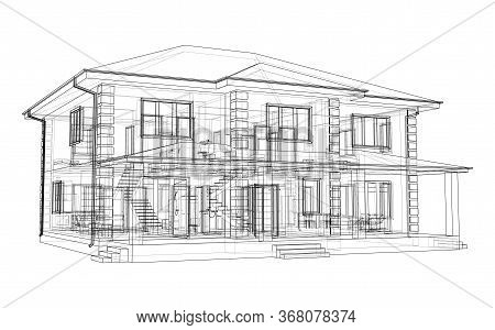 Abstract Vector Sketch Of A House. Exterior Of The House With Visible Internal Elements.