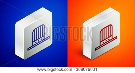 Isometric Line Patriotic American Top Hat Icon Isolated On Blue And Orange Background. Uncle Sam Hat