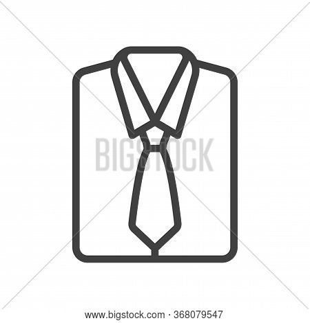 Icon Of A Folded Mens Shirt With A Tie. Simple Linear Image. Isolated Vector On A White Background.