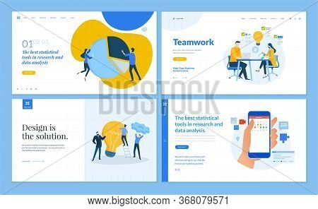 Set Of Flat Design Web Page Templates Of Team And Teamwork, Market Research, Business Analysis And S