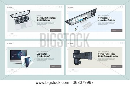 Set Of Flat Design Web Page Templates Of Web And App Design And Development, Graphic Design, Video A