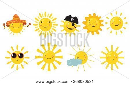 Suns With Happy Faces Set. Cute Cartoon Sunshine Character Wearing Sunglasses, Mexican Sombrero Or P