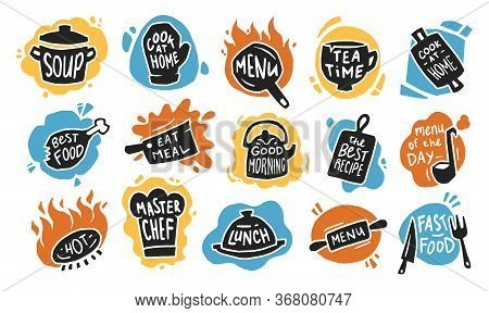 Food Typography Flat Icon Set. Graphic Chalk Logo, Emblems And Badges For Recipe, Menu, Bar, Bistro