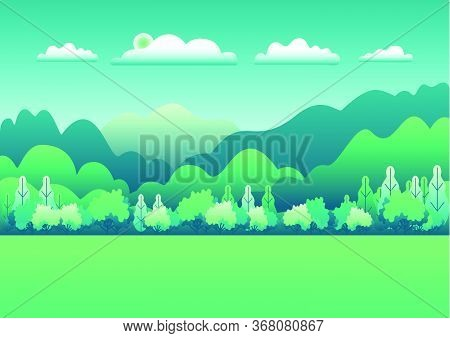 Hills And Mountains Landscape In Flat Style Design. Beautiful Green Field With Grass, Meadow And Sky