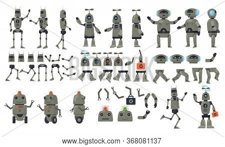 Robot Cartoon Characters Set. Android, Humanoid, Cyborg, Parts, Arms. Flat Vector Illustrations For