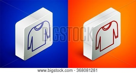 Isometric Line Sweater Icon Isolated On Blue And Orange Background. Pullover Icon. Silver Square But