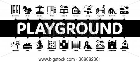Playground Children Minimal Infographic Web Banner Vector. Basketball And Climbing Wall, Seesaw And