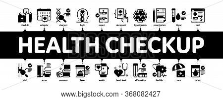 Health Checkup Medical Minimal Infographic Web Banner Vector. Healthcare Checkup List And Calendar D