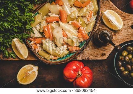 Turkish Traditional Leek, Rice And Carrot Meze Dish With Lemon