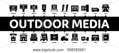 Outdoor Media Advertising Promo Minimal Infographic Web Banner Vector. Advertising Billboard And Tab