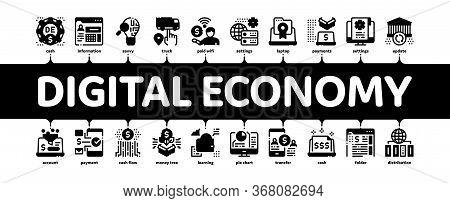Digital Economy And E-business Minimal Infographic Web Banner Vector. Digital Economy And E-commerce