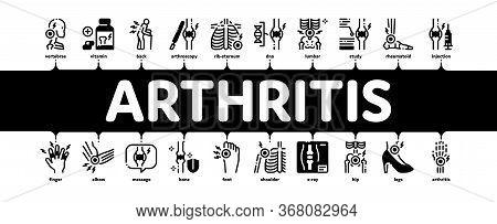 Arthritis Disease Minimal Infographic Web Banner Vector. Arthritis Symptoms And Treatments, Pain In