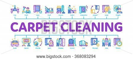 Carpet Cleaning Washing Service Minimal Infographic Web Banner Vector. Dusty And Dirty Carpet And Fl