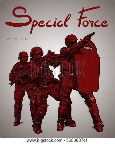 Police Forces Anti Terror Operation. Vector Sketch