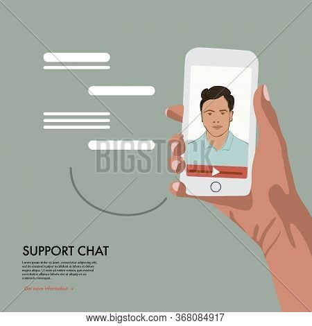 Video Chat With Online Assistant . Virtual Technical Support Service, Personal Assist And Hotline Op