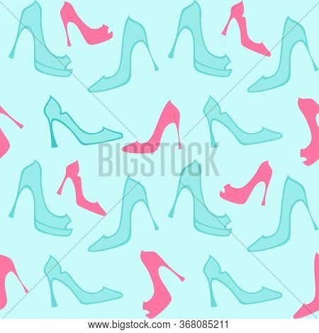 Turquoise and pink ladies high heels shoes on a light turquoise in flat style. Vector seamless pattern for shoe store, shoe factory, printing on packaging, wrapping paper, sales packages, fabric and textile. Design template