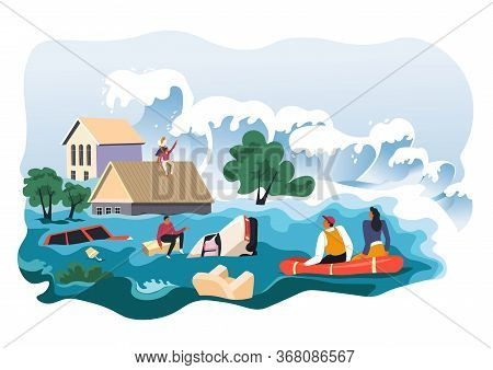 Flood In City Or Village, Calamity Or Apocalypse