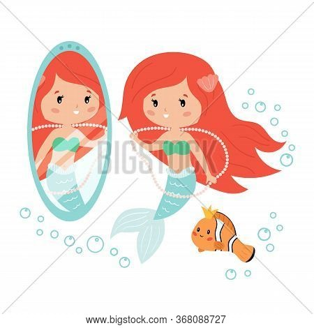 Cartoon Mermaid Looking In The Mirror. Mermaid And Clownfish Decorate Themselves With Jewelry. Vecto