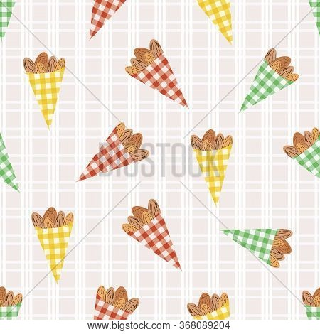 Vector Roasted Almond Nuts In Cute Gingham Paper Bags Seamless Pattern Background. Brown Oval Seeds