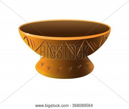 Candlestick Is A Pottery Folk Product. Candlestick With A Pattern - Vector Full Color Picture. Tradi