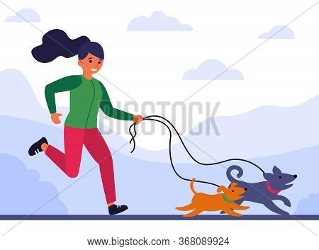 Young Woman Running And Walking Dogs Flat Vector Illustration. Cartoon Pet Owner Jogging In Park Wit