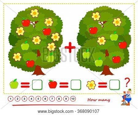 Math Education For Children. Printable Worksheet For Kids. Count The Quantity Of Apples And Flowers,