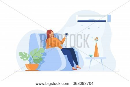 Woman Relaxing In Arm Chair At Home, Turning On Air Conditioner System, Holding Remote Control Devic