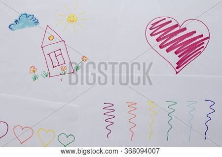 Children's Drawings, Scribbles, Painted House, Flowers, Sun And Cloud, Red Heart And Simple Lines. C