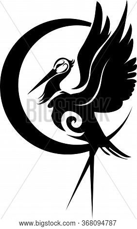 Black Stork Logo, Isolated Object On A White Background, Vector Illustration, Eps