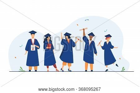 Happy Diverse Students Celebrating Graduation From School Or Colleges, Holding Diplomas And Certific