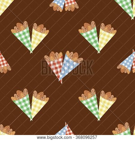 Pairs Of Roasted Almond Nuts In Cute Gingham Paper Bags Vector Seamless Pattern Background. Oval Ker