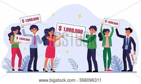 Lottery Winners Holding Check For One Million Dollars. Money Prize, Wealth, Gain Flat Vector Illustr
