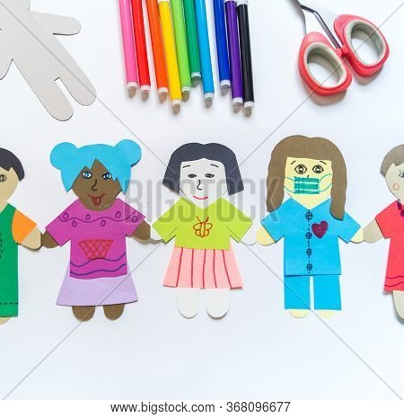 Celebration Of Bringing People Together From All Over The World Child Makes A Paper Craft Hands. Rai