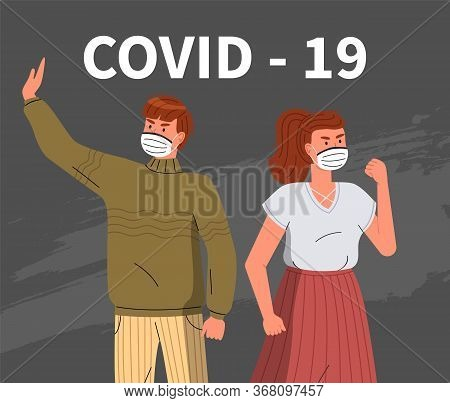 Young Woman And Man Protesting Against Spreading Virus. People Wearing Face Medical Masks Call To Fi