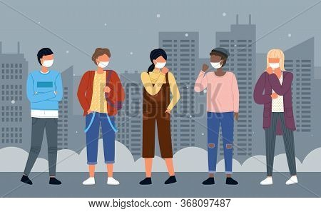 Group Of Young Multinational People In Medical Masks At Background Of Night City. Concept Of Viral C