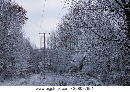 Winter Ice Storm Power Outage. Power Line Coated With Ice And Surrounded By A Fresh Blanket Of Snow