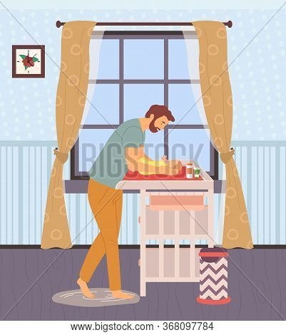 Father Changing Diapers Of Newborn Baby Vector, Daddy And Kid Laying On Table, Room Interior With Fu