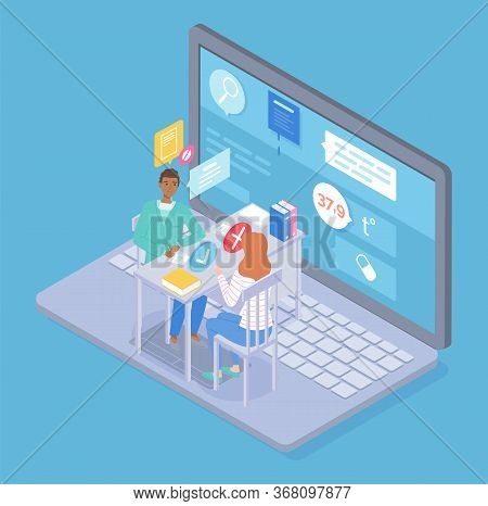 Isometric Illustration Of Laptop With Online Consultation Of Doctor, Patient In Internet. Physician