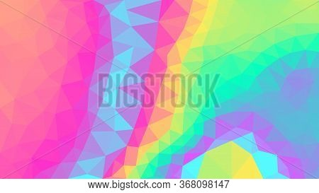 Holographic Low Poly Vector Background. Magic Rainbow Triangular Backdrop. Bright Gradient Sparkling