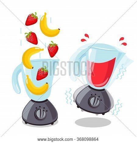 Organic Raw Strawberry And Banana Shake. Food