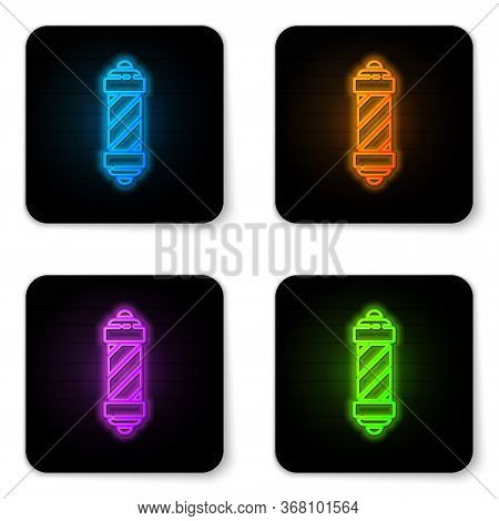 Glowing Neon Classic Barber Shop Pole Icon Isolated On White Background. Barbershop Pole Symbol. Bla
