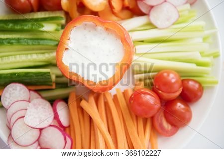 Composition With Assorted Raw Organic Vegetables. Detox Diet. Catering Service. Catering Food. Table