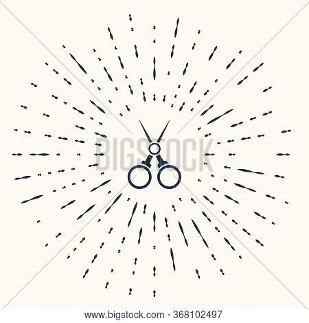 Grey Scissors Hairdresser Icon Isolated On Beige Background. Hairdresser, Fashion Salon And Barber S