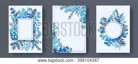 Simple Herb Twigs, Tree Branches, Leaves Floral Invitation Cards Collection. Bouquet Wreath Elegant