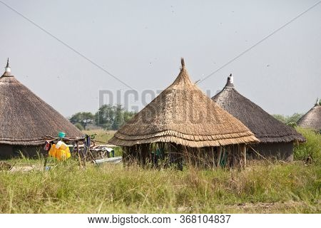 Traditional huts and family compound in South Sudan.