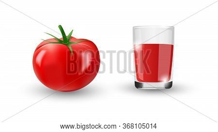 Realistic Red Tomato With Green Leaves. A Glass Of Natural Freshly Squeezed Tomato Juice. Isolated D